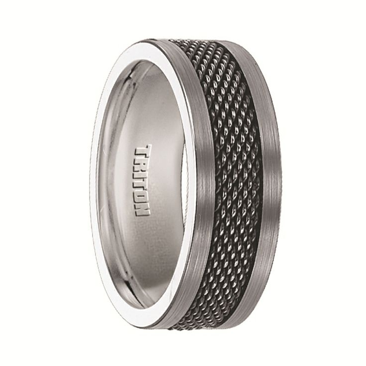 Triton Rings - CRAIG Tungsten Ring with Black Steel Mesh Center Inlay - 8 mm