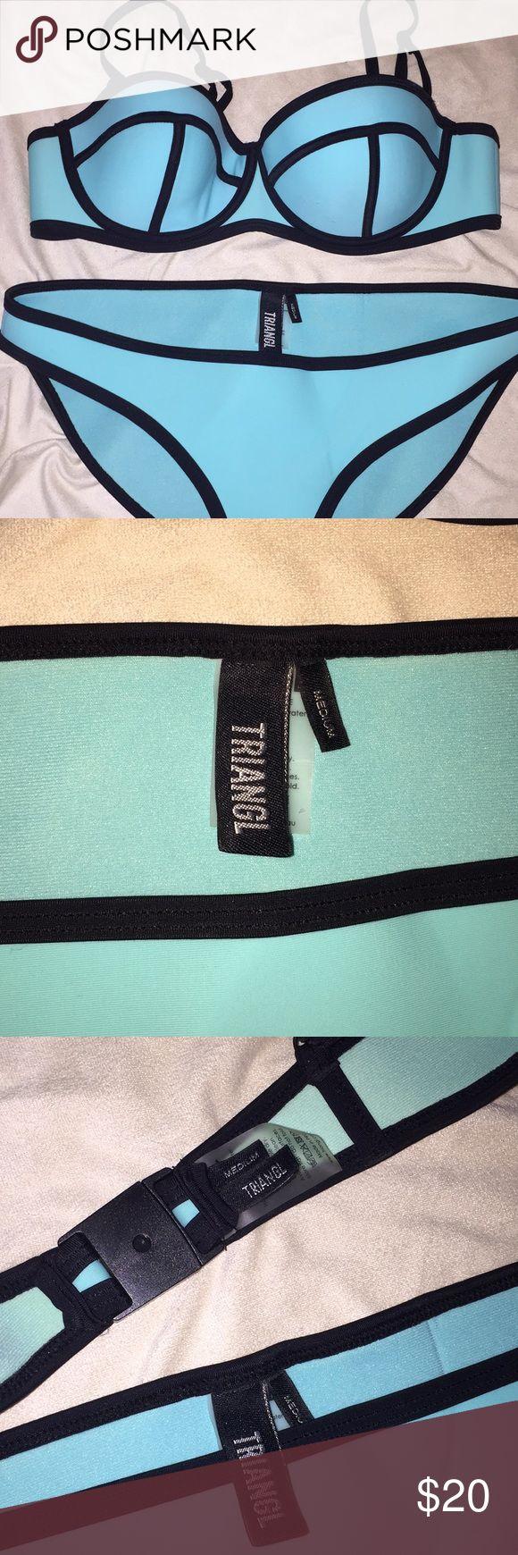 Triangl turquoise and black neoprene bikini Size medium, has small snags on fabric, as seen in photos, ordered online, never fit triangl swimwear Swim Bikinis
