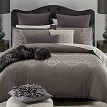 A stunning design with a classical and eye-catching appearance, Taylor combines neutral shades of charcoal and dark stone with dazzling effect. Highlighted with elegant embroidery and a tailored trim, the quilt cover set is enhanced with luxurious, quilted and crocheted accessories, creating a majestic look for the bedroom.
