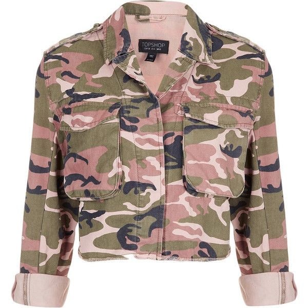 TOPSHOP Pink Camo Cropped Jacket ($84) ❤ liked on Polyvore