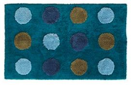 Dotted Peacock Blue Bath Mat - eclectic - bath mats - - by Pier 1 Imports