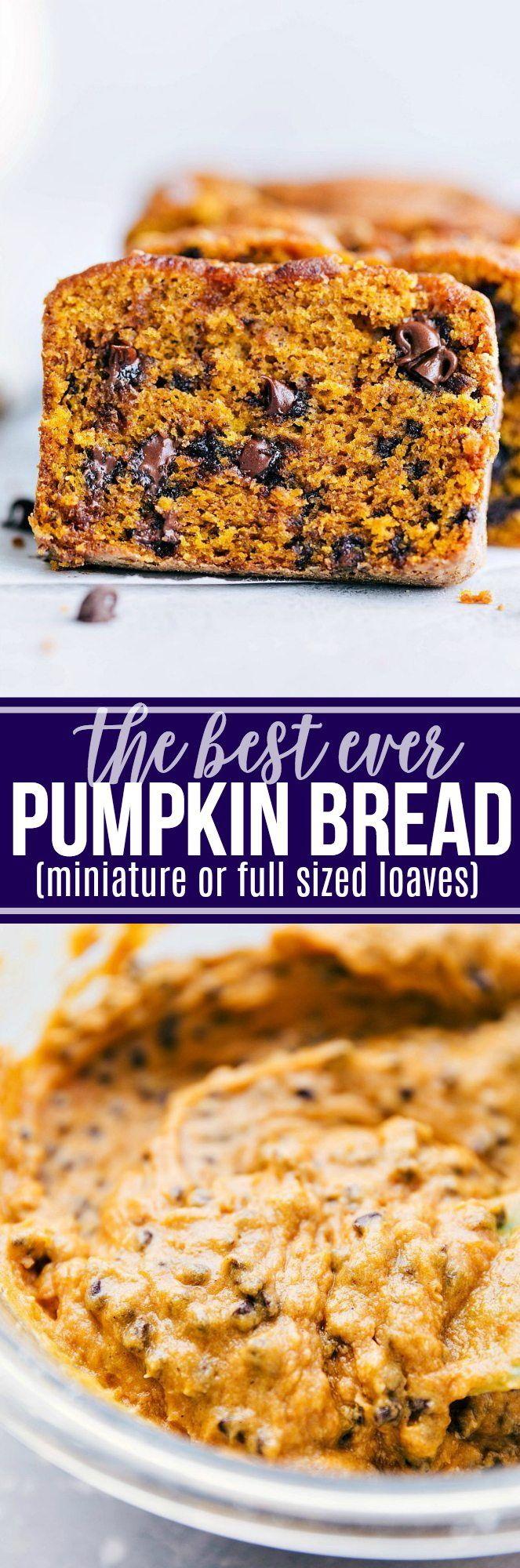 Moist pumpkin bread stuffed with mini chocolate chips (or nuts/raisins). Directions for miniature or full sized loaves of bread. The miniature loaves are great for holiday gift-giving!