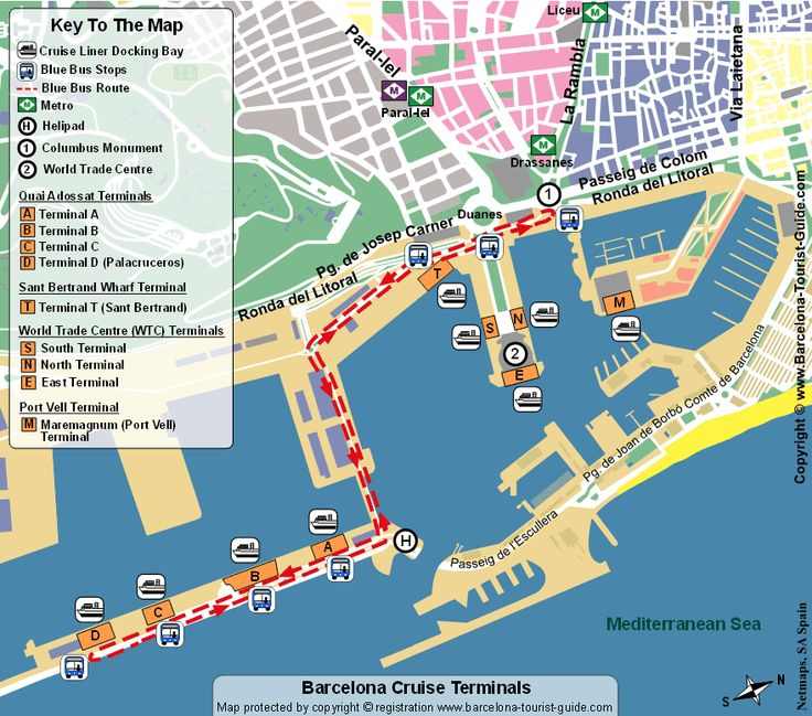 Barcelona Cruise Port Terminal Map. You can sail in and out of Barcelona on cruise ships. This is also a very popular Mediterranean port terminal.