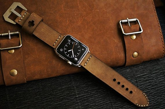 Custom Made Vintage Leather Strap incl. Lugs Adapter for Apple Watch (or Apple Watch Sport) 42mm or 38mm BF03-D48 incl Buckle