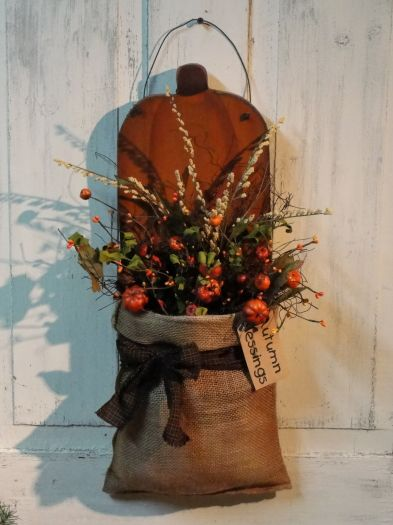 Primitive Pumpkin Wall Board with Prim Fall Florals Homespun and Grungy Tag