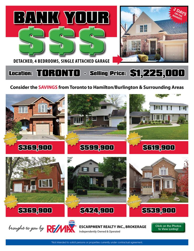Do you enjoy saving money? Perhaps leaving the GTA and moving to the Hamilton/Burlington or a surrounding area is just the opportunity for you and your family!   Check out some of our current listings to see the comparison and the money you could SAVE!!!   If these homes are NOT within your price range, then check out www.whatchagetfor.com  to find homes within YOUR budget.