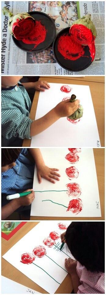 Peinture avec artichaut pour faire des fleurs.