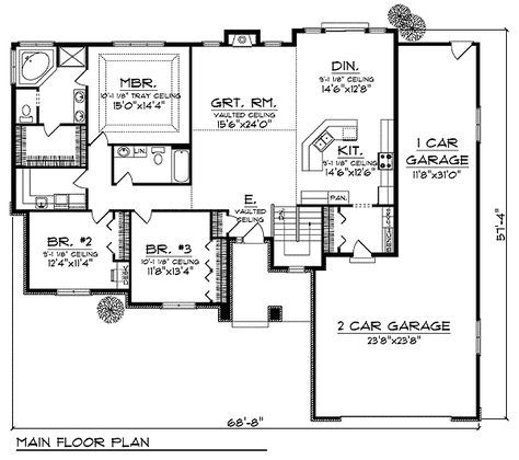 Plan 89231AH: Ranch Home With Hip Roof