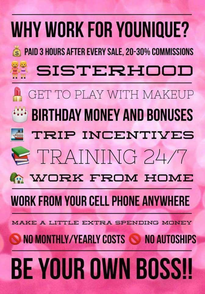 Did you know that I get nothing except excitement when someone joins my team? Younique doesn't give us a bonus when someone signs up....they encourage empowerment, validation and uplifting - so until you succeed, I am not succeeding! This truly is a sisterhood! I love the products♡ but the experience of living the mission statement is what drives me.