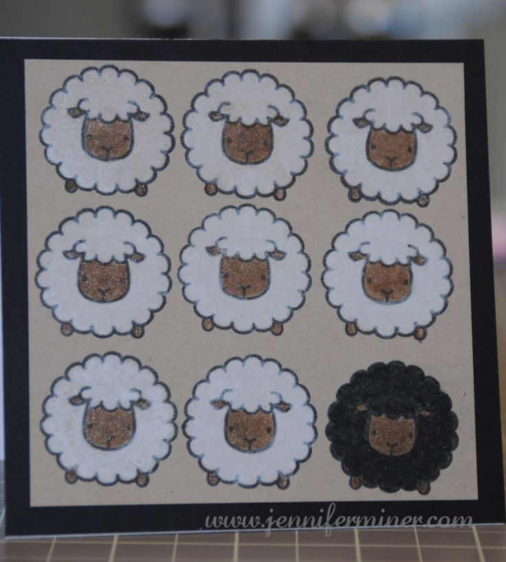 Gamsol Technique. Sheep card created with Mama Elephant stamp set - Carnival Cupcakes. Created by Jennifer Miner