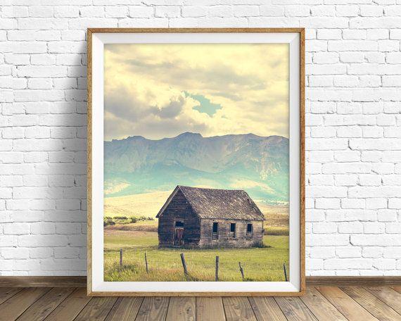 """landschapsfotografie, grote kunst, kunst aan de grote muur, instant download, instant download afdrukbare kunst, bergen, kunst aan de muur - """"Berghut"""""""