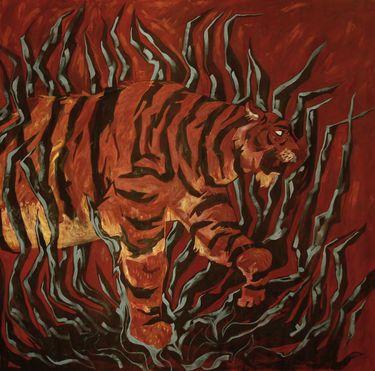 Tiger Big oil painting  #tiger #wild #Animal #jungle #artwork