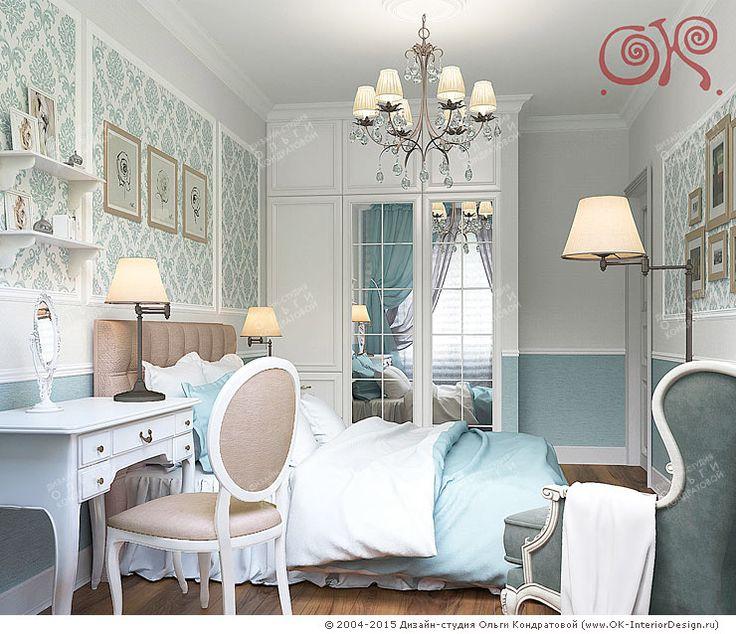 Дизайн-проект голубой спальни  http://www.ok-interiordesign.ru/dizayn-kvartiry-foto-interyerov.php