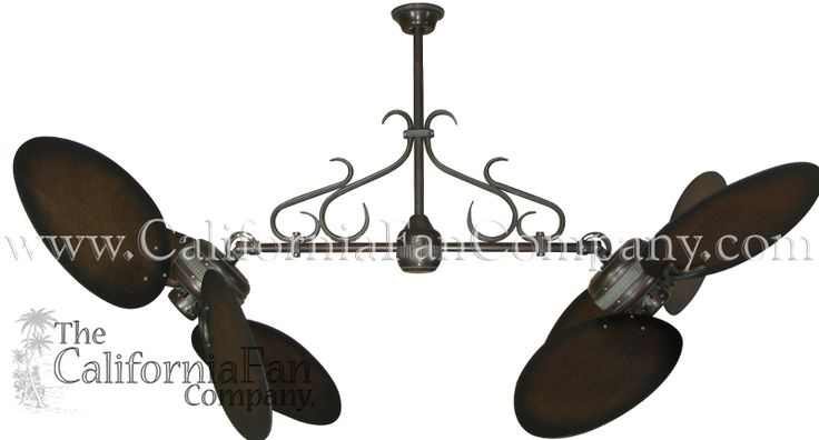 Twin Star Double Ceiling Fan with Large Distressed Walnut Blades