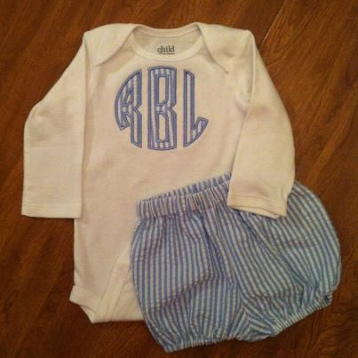 Monogrammed Baby Boy Gift Set. $25.00, via Etsy.