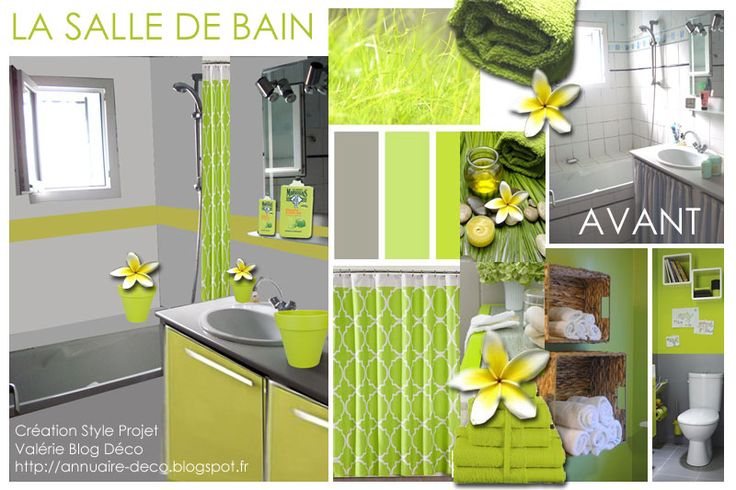 Blog déco décoratrice décorateur architecture intérieure interior design (annuaire-deco.blogspot.fr) Planche Tendance Style La Salle de Bain  Image plus grande sur ce lien : https://3.bp.blogspot.com/-Ow9_DrVH4x4/V0He68bDEcI/AAAAAAAAlbs/GRcqFRmgHMwINBo_5HFBNijYDHazJLMaQCLcB/s1600/SALLE-de-bain-3.jpg  Vous avez un projet de relooker en peinture votre Salle de Bain voici mon projet personnel  VERT CITRON POMME ET GRIS APPLE LIME AND GREY BATHROOM