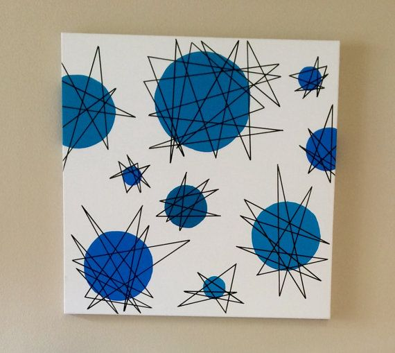 Items Similar To Mid Century Modern Wall Art Atomic Starburst Painting On  Etsy