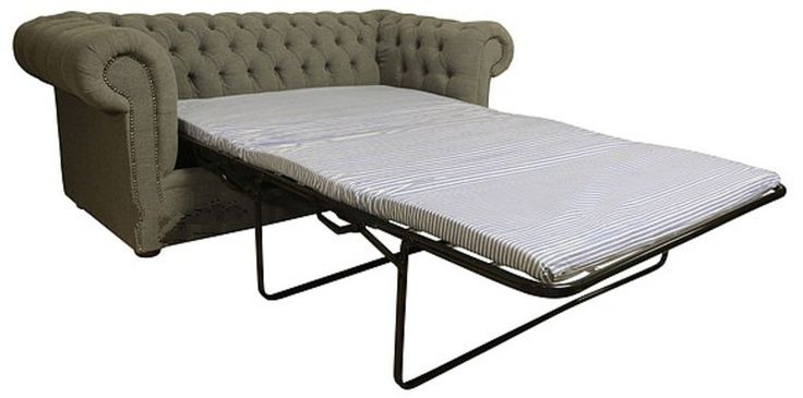 Buy grey fabric Chesterfield sofa bed | DesignerSofas4U