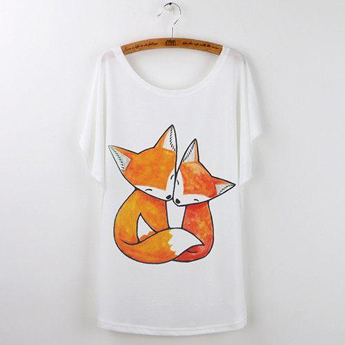 Animal T-Shirts For Women Clothing Cute Fox Short Sleeve White T Shirt