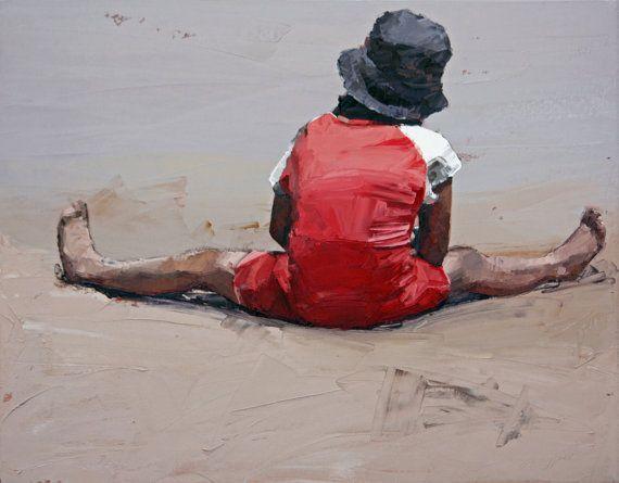 Limited edition, giclee art print, original art, impressionist oil, painting print, beach art, modern art, wall art, 'Beach Day'