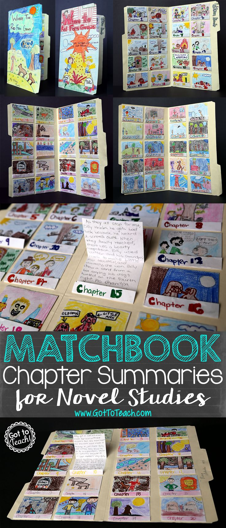 Matchbook Chapter Summaries for Novel Studies. This project is so simple, and you can do it with any novel. This example is for Where the Red Fern Grows. This could be modified for use with Golden Sowers - summarize each book, etc.