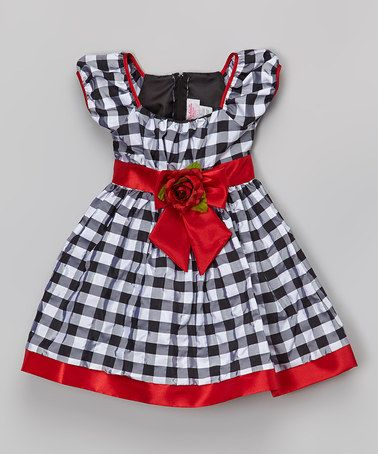 Look at this #zulilyfind! Red Plaid Puff-Sleeve Dress - Infant, Toddler & Girls #zulilyfinds