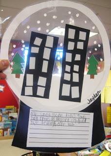 First Grade Wow: Snow Globes - love this idea - assemble, write, laminate