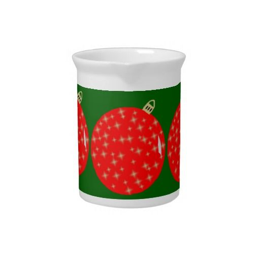 Red Ornaments Beverage Pitcher Red Ornaments Retro