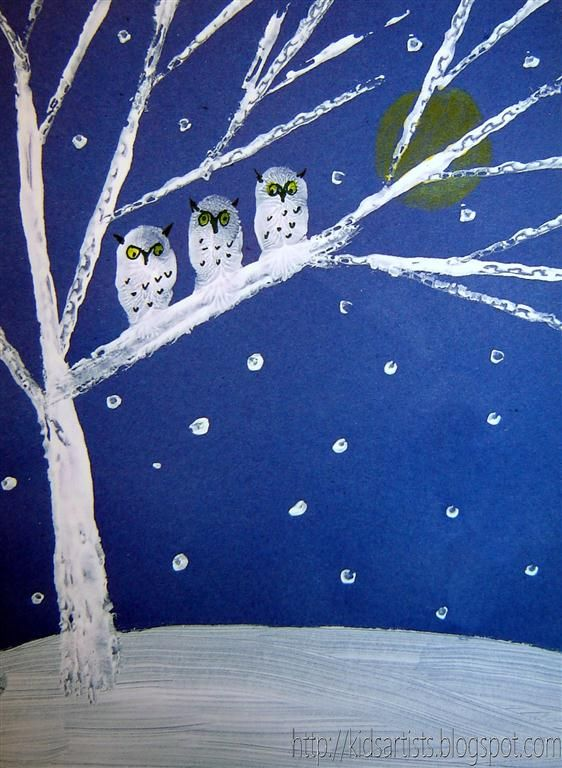 Kids Artists: Owls in the night-printed with cardboard and white paint, thumbprint owls, used Q-Tip to create snow.