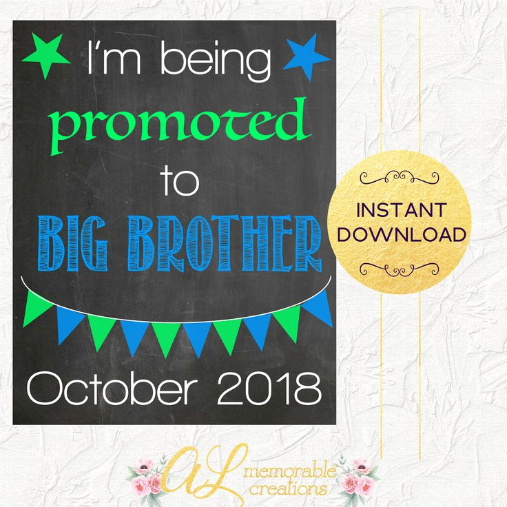 Big Brother Pregnancy Announcement, Promotion to Big Brother, Expecting Baby Number 2, Due October 2018, Pregnancy Reveal, Instant Download by ALMemorableCreations on Etsy