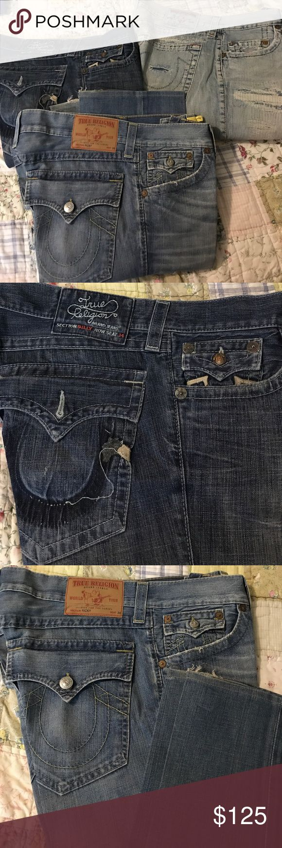 True Religion Men's Jeans I am selling these 3 all together. They are all True Religion Jeans. All in great shape they have been Dry cleaned and starched. They do have rips and tears from the factory. They have been worn a few times. The sizes on all 3 pair are 34X 32. True Religion Jeans Bootcut