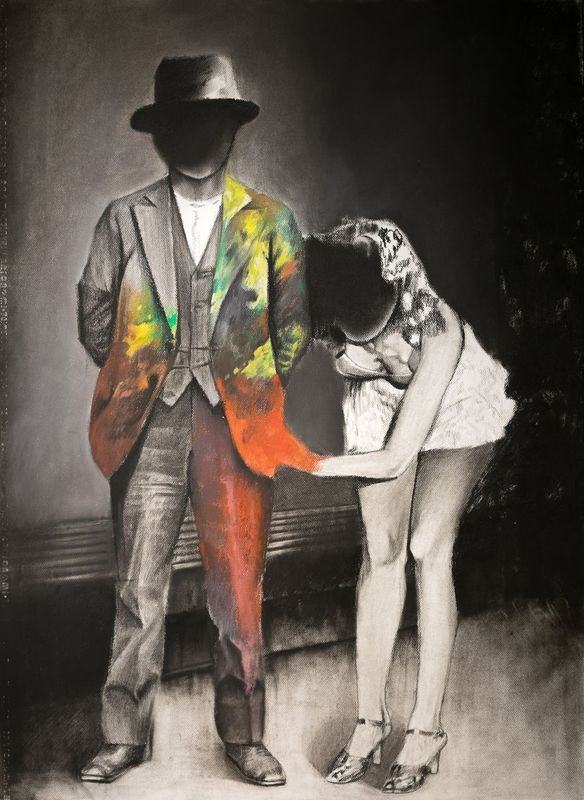 """""""Barney and Clare"""" by Dan Laurentiu Arcus. Pastel drawing on Paper, Subject: People and portraits, Surrealistic style, One of a kind artwork, Signed on the back, This artwork is sold unframed, Size: 75 x 110 x 0.1 cm (unframed), 29.53 x 43.31 x 0.04 in (unframed), Materials: charcoal and pastel on paper"""