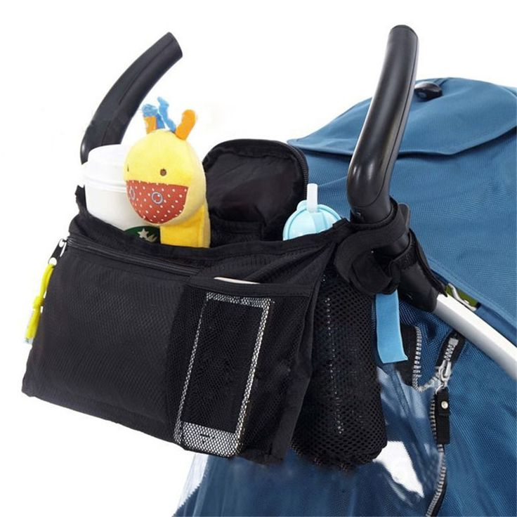 Evrensel Gezginci Organizatör Çantası 2 Bardak Tutucular Depolama Çanta için Cep Telefonu için Örgü Ile Cep Bezi T30 Strollers