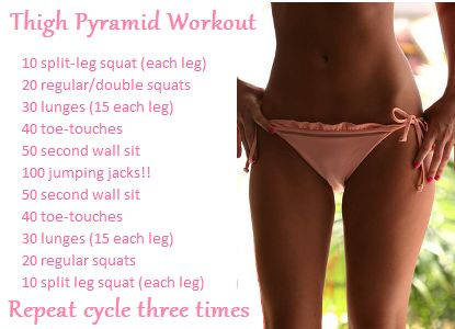 For the perfect inner thighs!Thighs Pyramid, Thighs Gap, Legs Workout, Thigh Gaps, Summer Workout, Thigh Workouts, Thy Workout, Pyramid Workout, Inner Thighs Workout