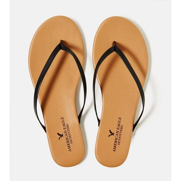 AEO Flip Flop ($20) ❤ liked on Polyvore featuring shoes, sandals, flip flops, american eagle, black, kohl shoes, american eagle outfitters shoes, american eagle outfitters, black shoes and black sandals