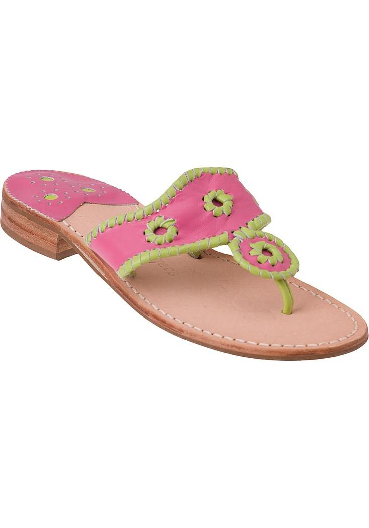 Jack Rogers Women's Navajo Fushia / Lime Trim - Jildor Shoes, Since 1949