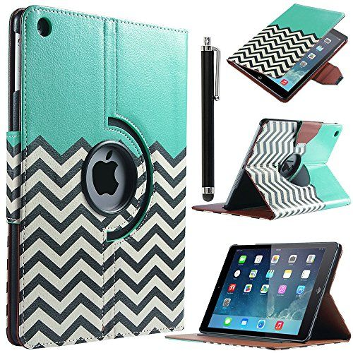 ULAK Apple iPad Air Case - 360 Degrees Rotating Stand Wave Pattern PU Leather Wallet Type Magnet Design Flip Smart Case Cover for Apple iPad Air / iPad 5 (With Automatic Wake/Sleep Function) Screen Protector and Stylus (FOLLOW THE SKY)