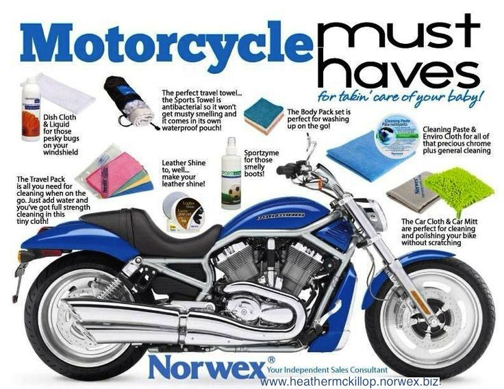 Norwex safely washes your cars and motorcycles. No more expensive cleaners and toxic chemicals! Say hello to water!