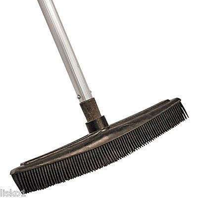 "BARBER / SALON RUBBER HAIR BROOM, HAIR CLINGS TO BROOM, TELESCOPIC 29"" HANDLE"