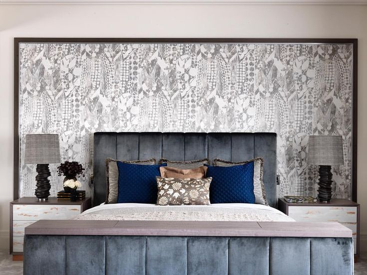 """111 Likes, 7 Comments - Natalia Miyar (@nataliamiyar) on Instagram: """"A master bedroom should always feel serene but fabulous. The statement headboard fabric is Paquebot…"""""""