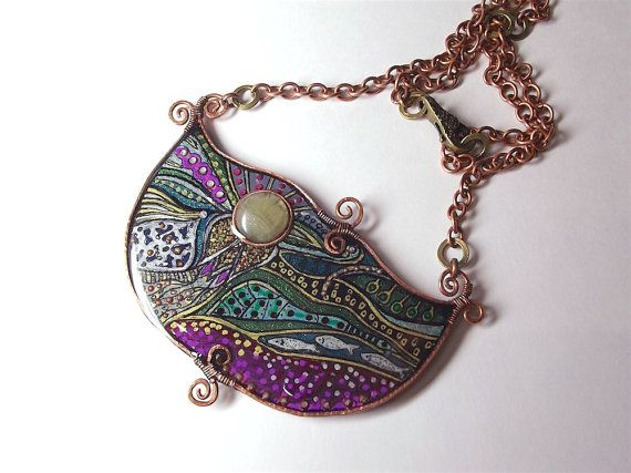 Necklace with zen hand painting from polymer clay by Taptamba