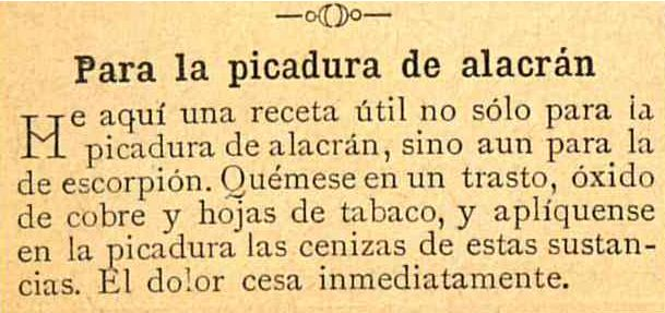 Picadura de alacrán. Almanaque Bouret para el año de 1897 / formado bajo la dirección de Raúl Mille y Alberto Leduc. (R)/529.4 ALM.b.897. Colección de Calendarios Mexicanos del Siglo XIX. Fondo Antiguo. Biblioteca del Instituto Mora, México. Scorpion sting. Almanac Bouret for the year 1897 / formed under the direction of Raúl Mille and Alberto Leduc. (R) /529.4 ALM.b.897. Collection of Mexican Calendars of the 19th Century. Old Background. Library of the Mora Institute, Mexico.