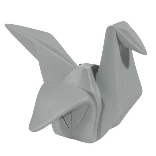 Statuette origami grue grise H14
