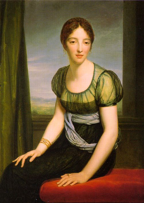 1798 Comtesse Regnault de Saint-Jean d'Angely by François Gerard (Louvre)  Gerard's 1798 portrait of the Countess Regnault de Saint-Jean d'Angely shows late 1700s dress can be elegant as well as simple. She wears a modest under-bodice below a sheer bodice with mildly puffed sleeves.