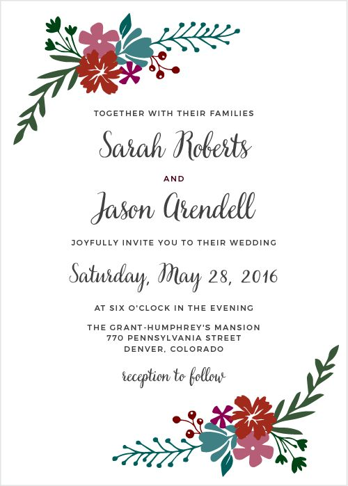 """See the vibrant florals of the Garden Party <a class=""""crosslink"""" href=""""https://www.basicinvite.com/wedding/wedding-invitations.html"""" target=""""_self"""" alt=""""Custom Wedding Invitations"""" title=""""Custom Wedding Invitations"""">Wedding Invitations</a> in your wedding colors. These invitations are part of the Crafty Pie Collection, and they are entirely customizable. Add your text in a font from our collection of over 100 hand-picked fonts and in colors from our palette of more than 160 colors.   The…"""