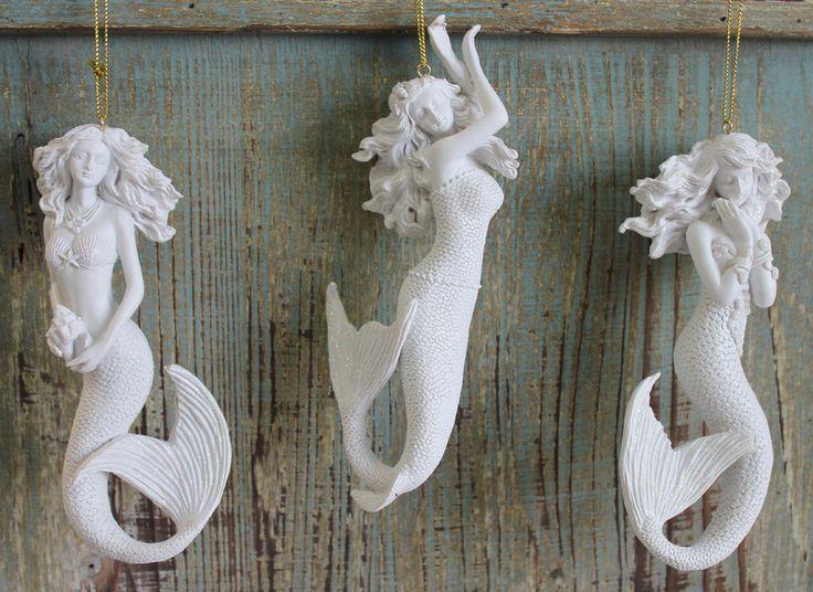 White Glitter Mermaid Ornaments Set - Coastal Christmas - Holiday Beach Decor