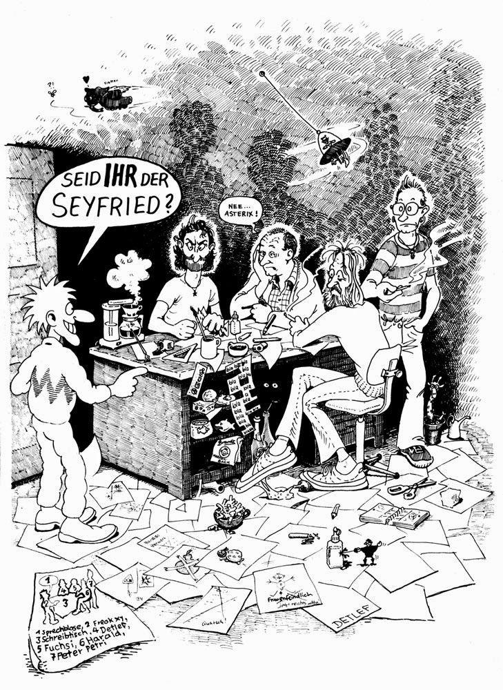 """""""Seid Ihr Seyfried?"""" – """"Ne Asterix"""": """"Kopf Hoch!""""-Zeichner Detlef Surrey, Fuchsi, Harald Juch und Peter Petri. © Detlef Surrey. http://detlefsurrey.blogspot.de/1981/03/seid-ihr-der-seyfried.html"""