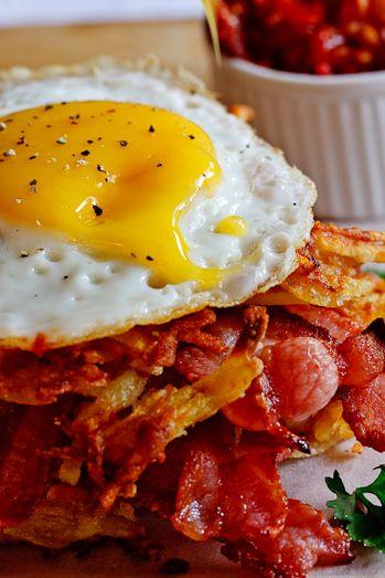 Potato Rösti, Bacon & Egg stacks with Tomato relish, deeeeelish!!!