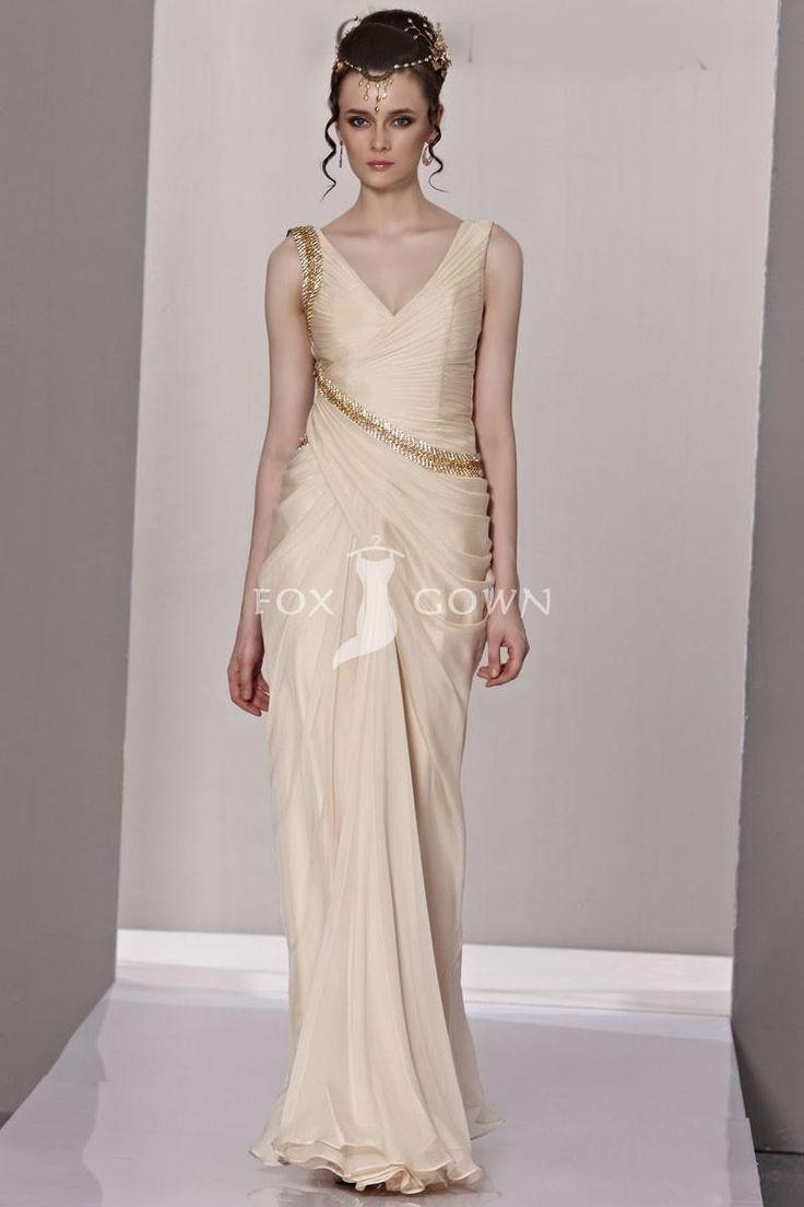 Designer campagner V-Ausschnitt Chiffon Mantel Abendkleid mit plissierten Mieder $356.68 Abendkleider