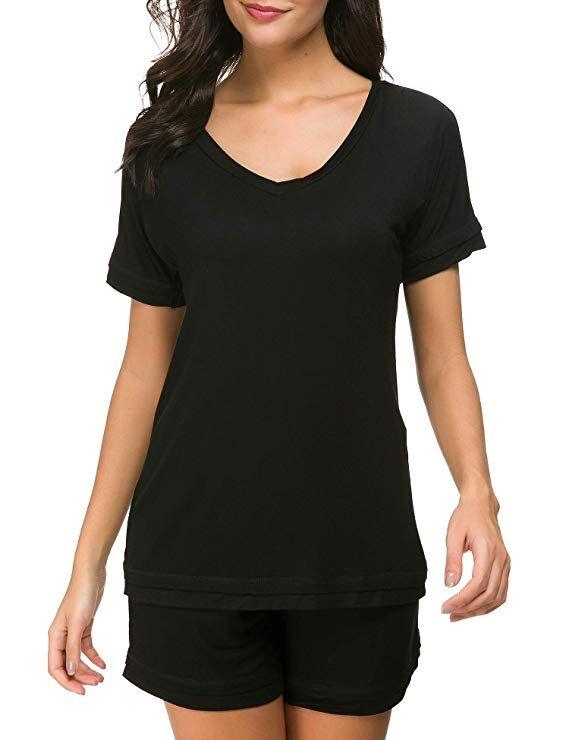 02f0f45245 Dolay Sleepwear Set Women Short Sleeve T Shirt and Shorts Pajamas  Loungewear (Black